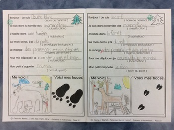 Les pistes d'animaux- FRENCH Work Booklet-  Grade 1 and 2- Animals