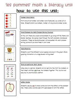 Les pommes! A Mini Math and Literacy Unit
