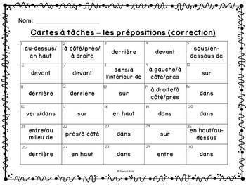 Les prépositions - Cartes à tâches - French Prepositions Task Cards
