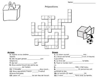 Les prépositions - Crossword