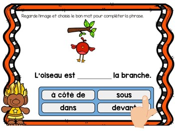 Les prépositions:  French Autumn themed Digital Task Cards - BOOM CARDS