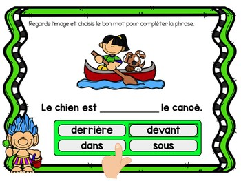 Les prépositions:  French Summer themed Digital Task Cards - BOOM CARDS