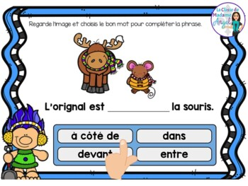 Les prépositions:  French Winter themed Digital Task Cards - BOOM CARDS