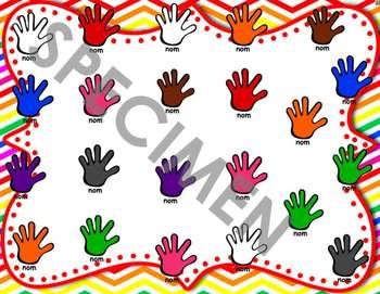 Les présences des mains multicolores