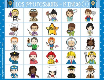 Les professions - French Jobs (Les métiers) French Bingo (30 Cards & Word Mat)