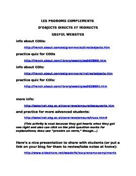 Les pronoms complements online links