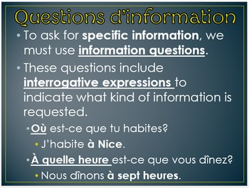 Les questions (How to form information questions in French)