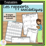 Les rapports anecdotiques || 13 Anecdotal Note Templates FRENCH