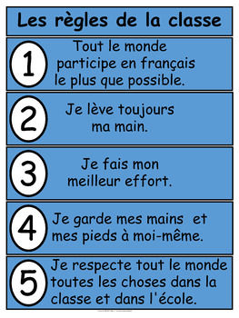 Les règles de la classe Five Simple Rules for French Class Poster FREEBIE
