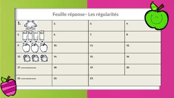Les régularités -- Cartes à tâches--