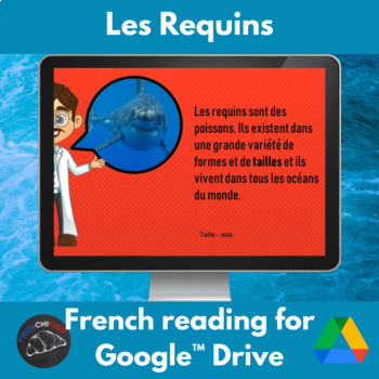 Les requins - reading for intermediate French - printable & Google drive