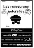 Les ressources naturelles - livre à rabats / Natural resou