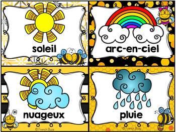 Les saisons et la météo - étiquettes pour la classe - thème: abeilles
