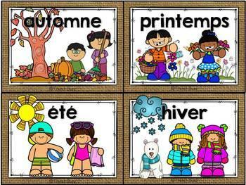 Les saisons et la météo - étiquettes pour la classe - thème: burlap (toile)