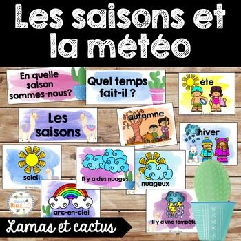 Les saisons et la météo - étiquettes pour la classe - thème: cactus et lamas