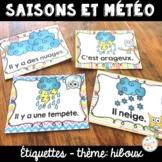 Les saisons et la météo - étiquettes pour la classe - thème: hiboux