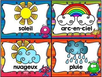 Les saisons et la météo - étiquettes pour la classe - thème: monstres