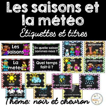 Les saisons et la météo - étiquettes pour la classe - thème: noir et chevron