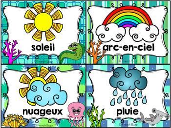 Les saisons et la météo - étiquettes pour la classe - thème: océan