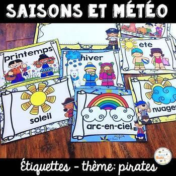 Les saisons et la météo - étiquettes pour la classe - thème: pirates