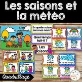 Les saisons et la météo - étiquettes pour la classe - thème: quadrillage