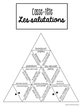 Les salutations French greetings and farewells vocabulary puzzle and task cards