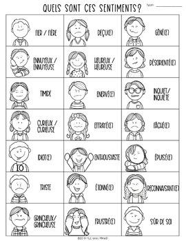 Les sentiments BINGO - Feelings Bingo