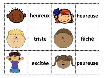 Les sentiments Memory game- Feelings and emotions matching card game in French
