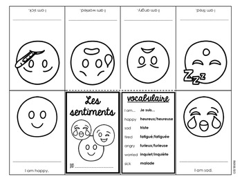 Les sentiments French emotions vocabulary minibooks