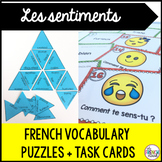 Les sentiments French emotions vocabulary puzzle and task cards
