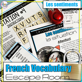 Les sentiments French vocabulary escape room