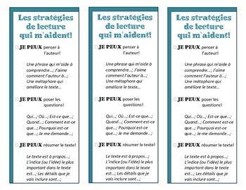 Les signets - Les stratégies de lecture (Reading Strategies)