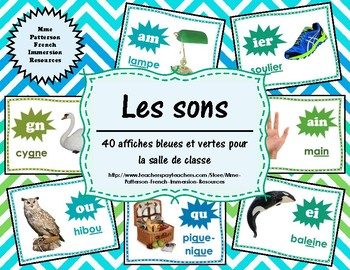 Les sons - 40 affiches bleues/vertes (40 French Sound Posters - blue/green)
