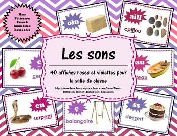 Les sons - 40 affiches roses/violettes (40 French Sound Posters - pink/purple)