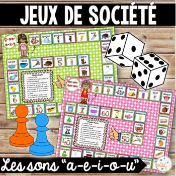 "Les sons ""a"", ""e"", ""i-y"", ""o-au-eau"", ""u"" - jeux de société - Ensemble"