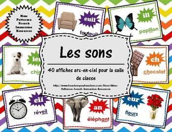 Les sons - 40 affiches arc-en-ciel (40 French Sound Posters - Rainbow)