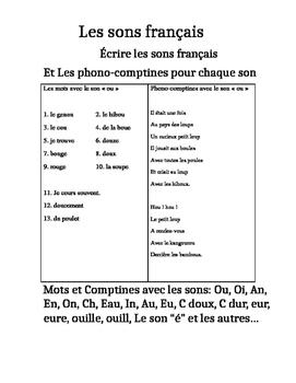 Les Sons Français Et Les Phono Comptines French Sounds Words And