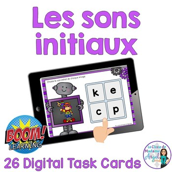 Les sons initiaux: French Beginning Sounds Digital Task Cards - BOOM CARDS