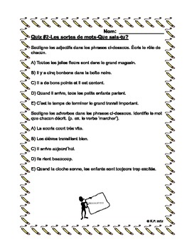 French Immersion-Grammar: Les sortes de mots