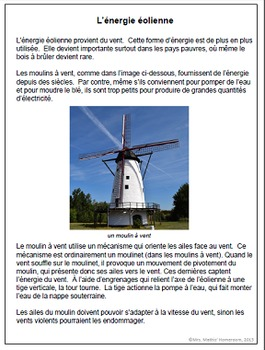 Les sources d'énergie (Energy Sources Info Cards with Questions in French)