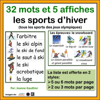 Les sports - French Vocabulary Word Wall of Sports (including winter olympics)