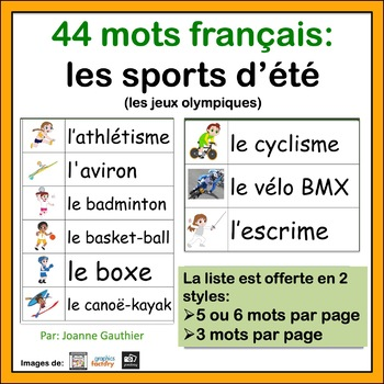 les sports d 39 t french vocabulary word wall for summer olympics by ms joanne. Black Bedroom Furniture Sets. Home Design Ideas