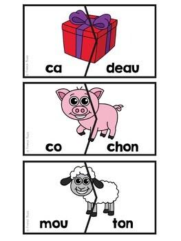 Les syllabes - 40 puzzles de 2 syllabes - images et mots - French Syllables