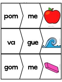 Les syllabes - 60 puzzles de 2 syllabes - Version 2 - French Syllables