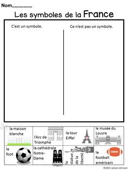 Les symboles de France {I Can Sort} Activity ~Dual Language, Immersion, FLES