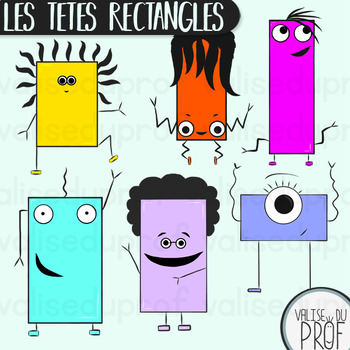 Les têtes rectangles - The rectangular heads - Shapes cliparts
