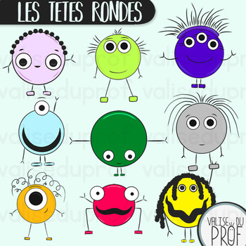 Les têtes rondes - The round heads - Shapes cliparts