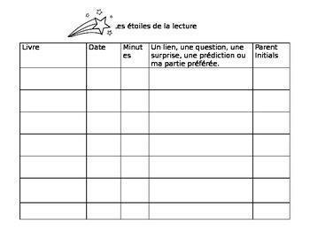 Les étoiles de la lecture: French Immersion Reading Program - editable template