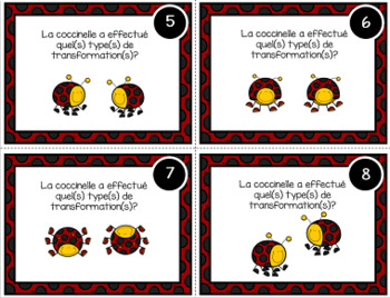 Les transformations: cartes à tâches (Transformations Task Cards in French)