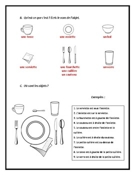 Les ustensiles, les couverts, mettre la table, worksheet in French